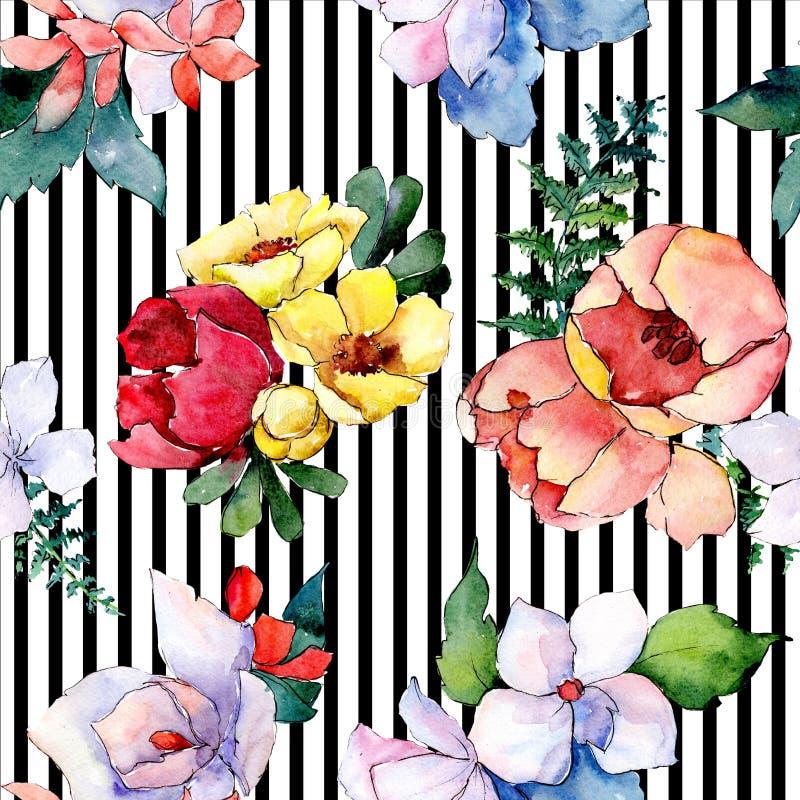 花束花卉植物的花 狂放的春天叶子隔绝了 水彩例证集合 无缝的背景模式 免版税库存照片