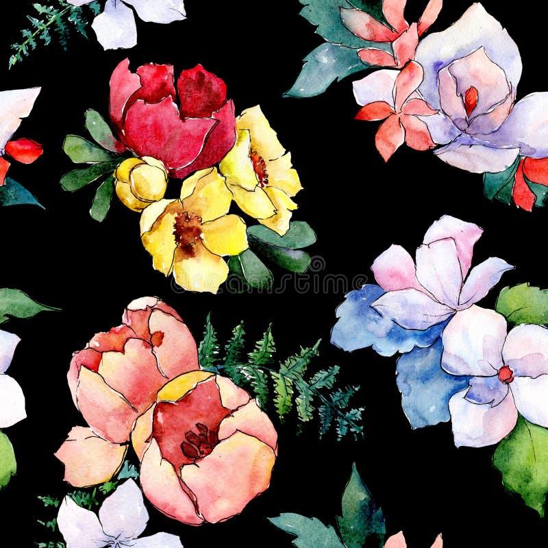 花束花卉植物的花 狂放的春天叶子隔绝了 水彩例证集合 无缝的背景模式 库存图片