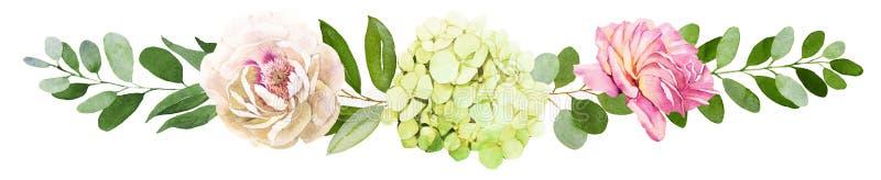 3花束重点前景婚礼 牡丹、八仙花属和玫瑰色花水彩il 皇族释放例证