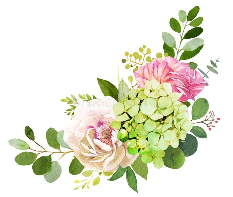 3花束重点前景婚礼 牡丹、八仙花属和玫瑰色花 库存例证