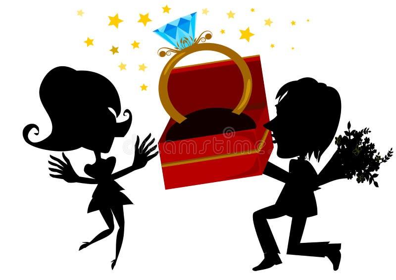 花束金刚石订婚结婚提议环形玫瑰 库存例证