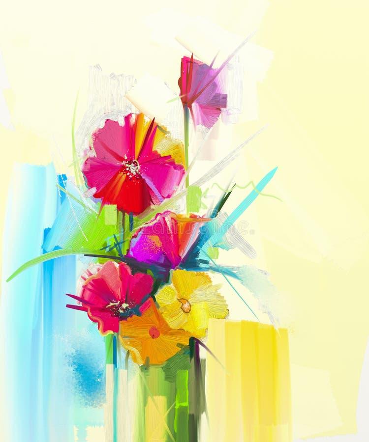 花束,黄色,红颜色植物群油画静物画  大丁草,郁金香,上升了,绿化在花瓶的叶子 皇族释放例证