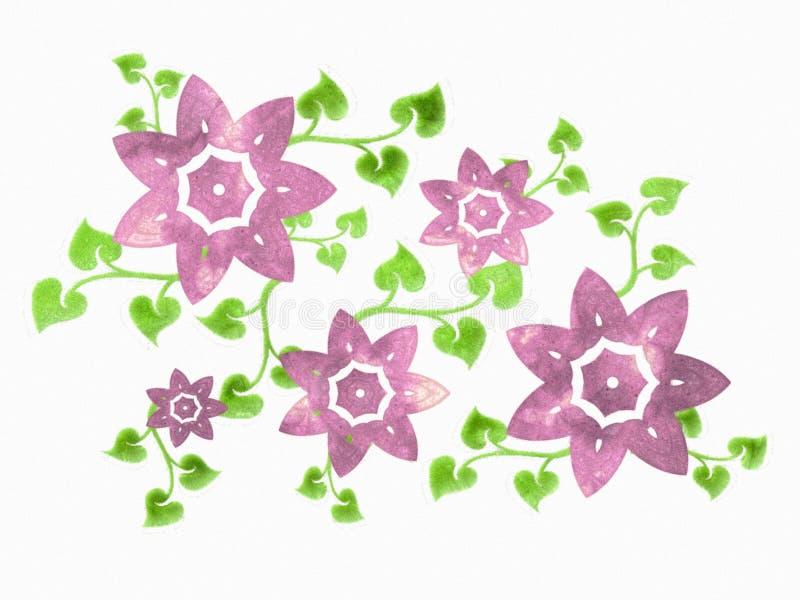 花查出的紫色藤 向量例证