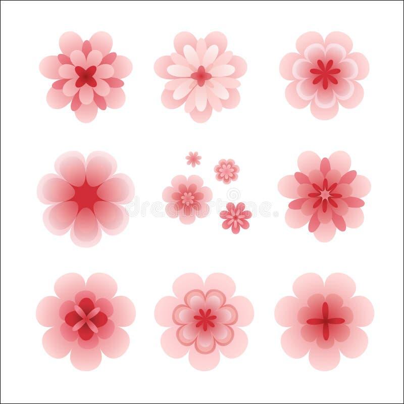 花查出粉红色集 向量例证