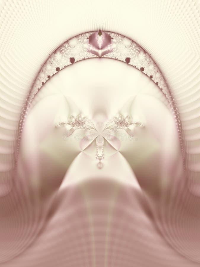 花桃红色冠状头饰面纱婚礼 向量例证