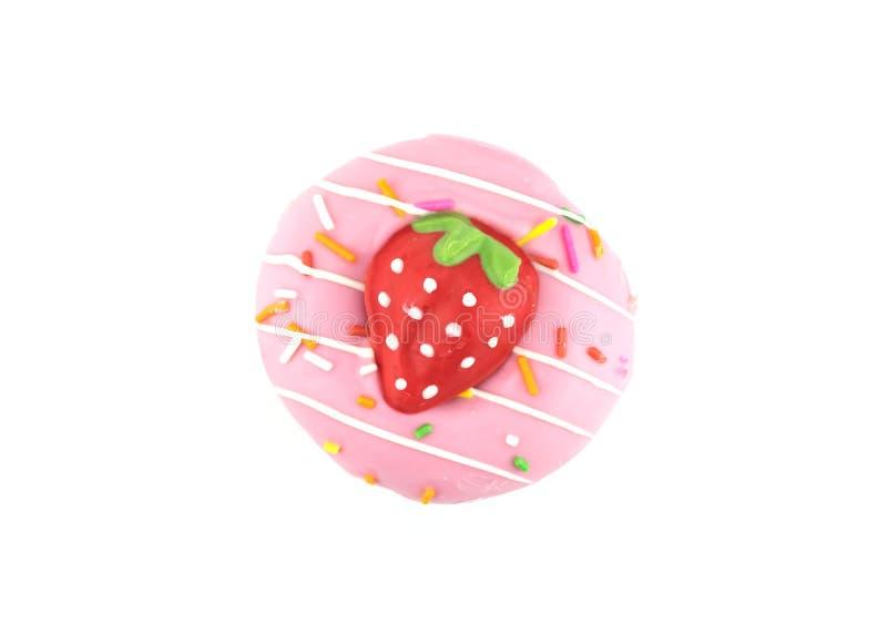 花梢甜草莓多福饼或多福饼与在白色背景洒,隔绝 库存照片