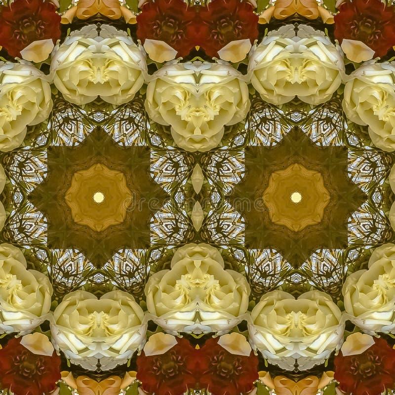 花正方形双重显示在圆安排的在婚礼在加利福尼亚 库存照片