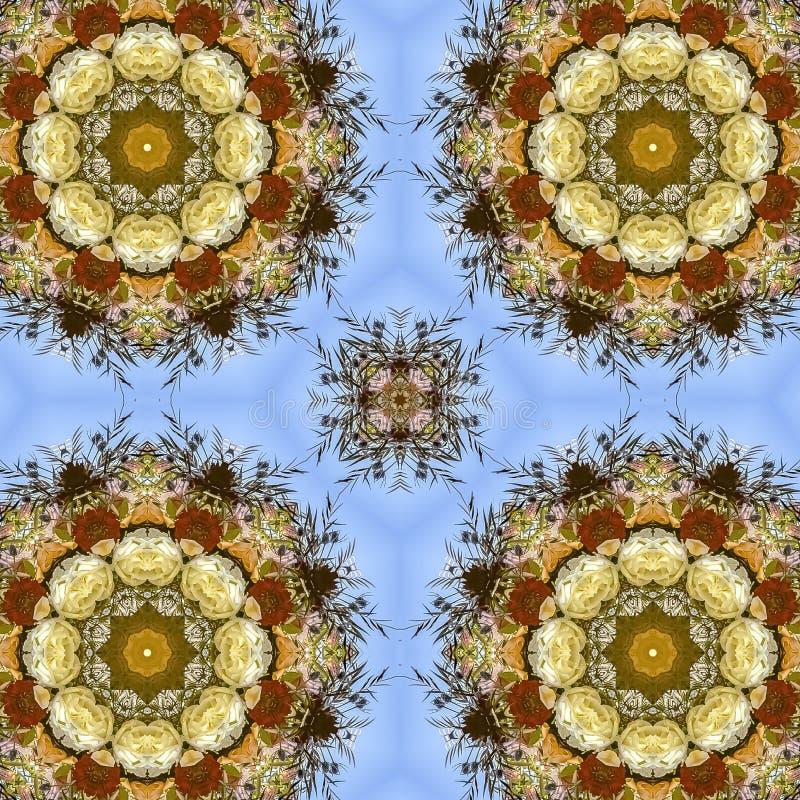 花正方形四相同显示在圆安排的在婚礼在加利福尼亚 库存图片