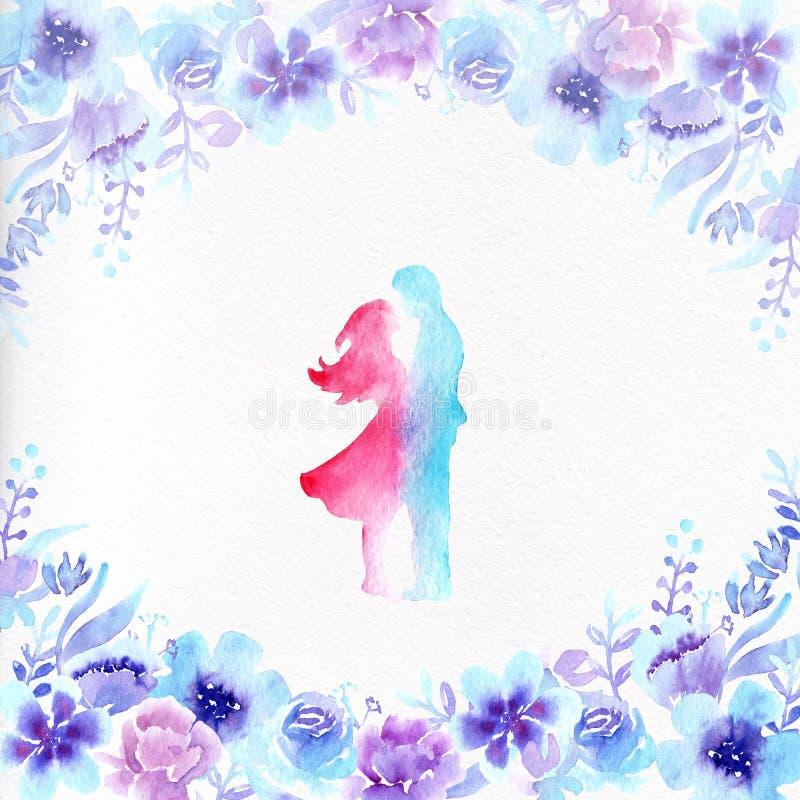 花水彩相框和在爱的一对夫妇 皇族释放例证