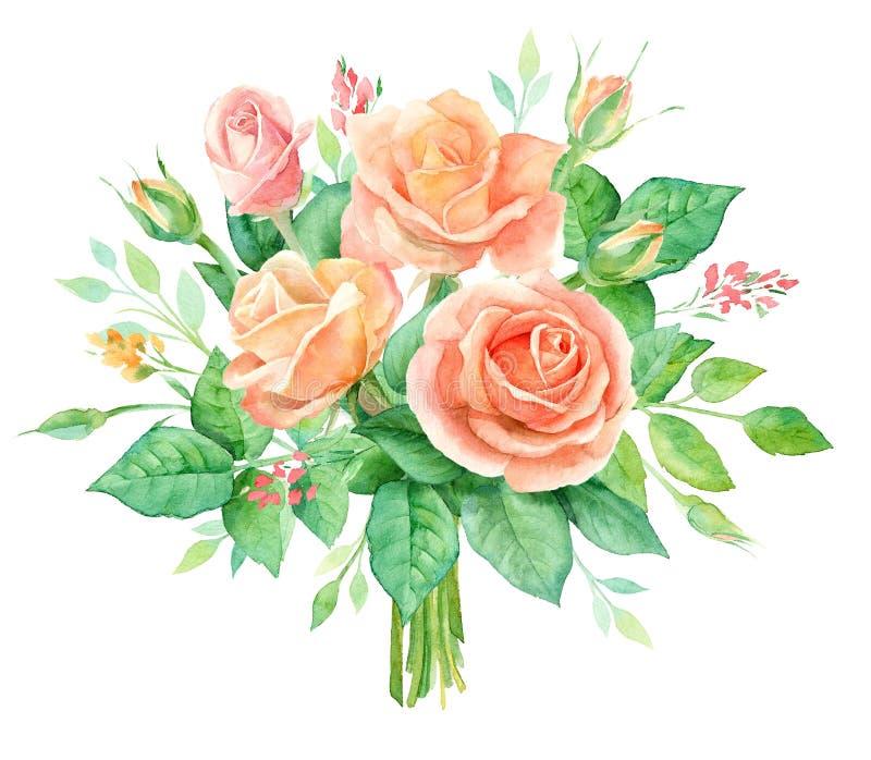 花水彩花束 在白色背景隔绝的手画花卉构成 例证百合红色样式葡萄酒 库存例证