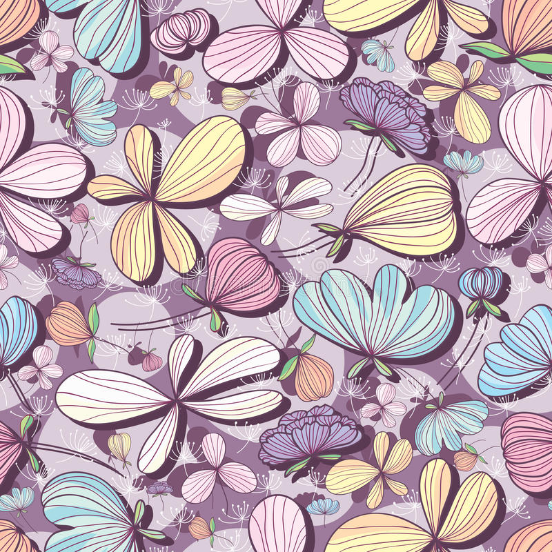 花淡色紫色无缝的样式 库存例证