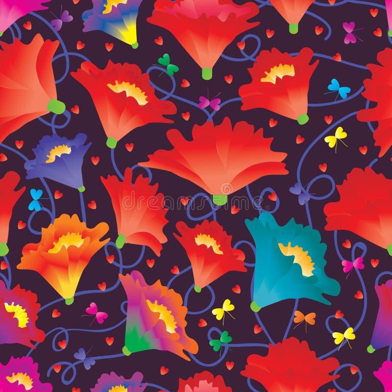 花爱蝴蝶五颜六色的无缝的样式 库存例证
