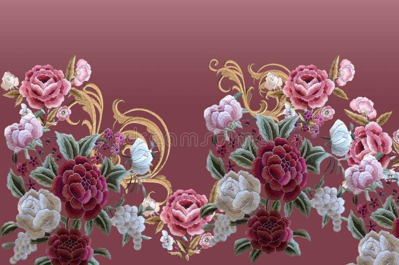 花玫瑰刺绣巴洛克金色优雅 库存例证