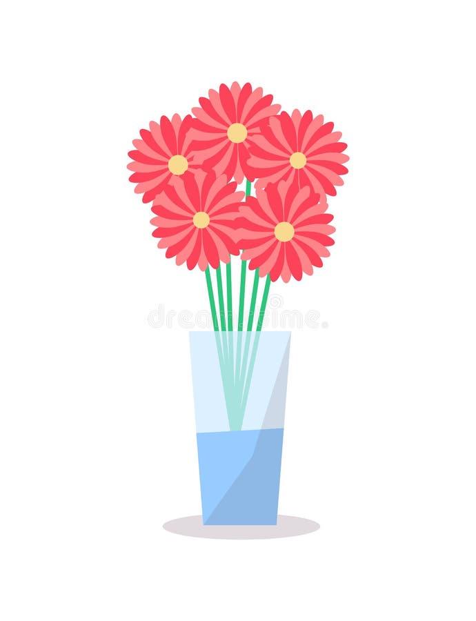 花玻璃花瓶象传染媒介装饰元素 向量例证