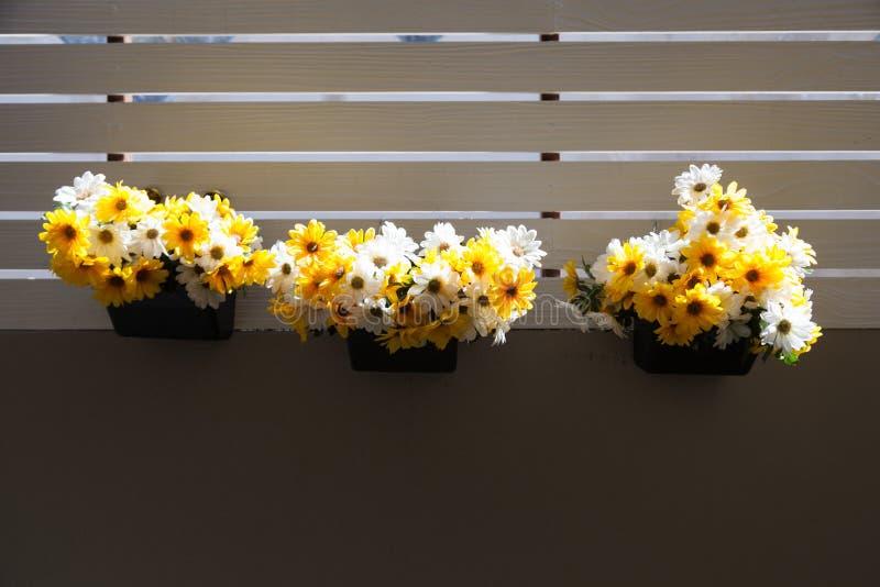 花瓶在阳台的花 免版税库存照片