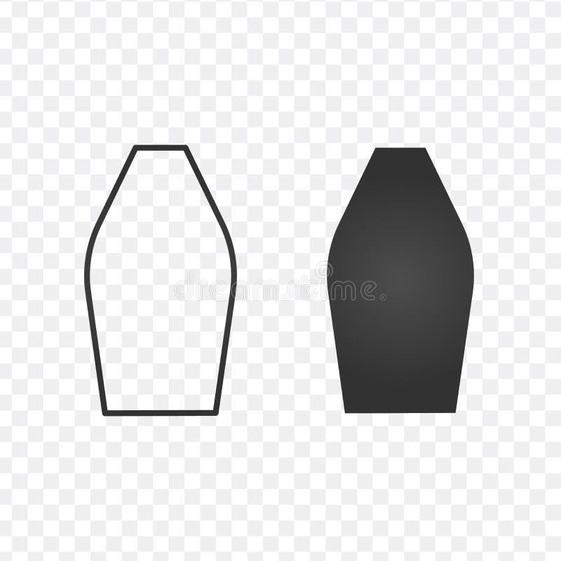 花瓶平和线性象,在透明背景隔绝的传染媒介例证 向量例证