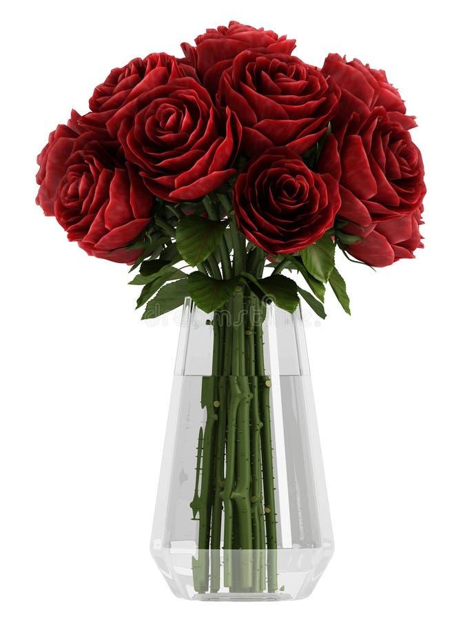 花瓶深伯根地酒红色玫瑰 向量例证