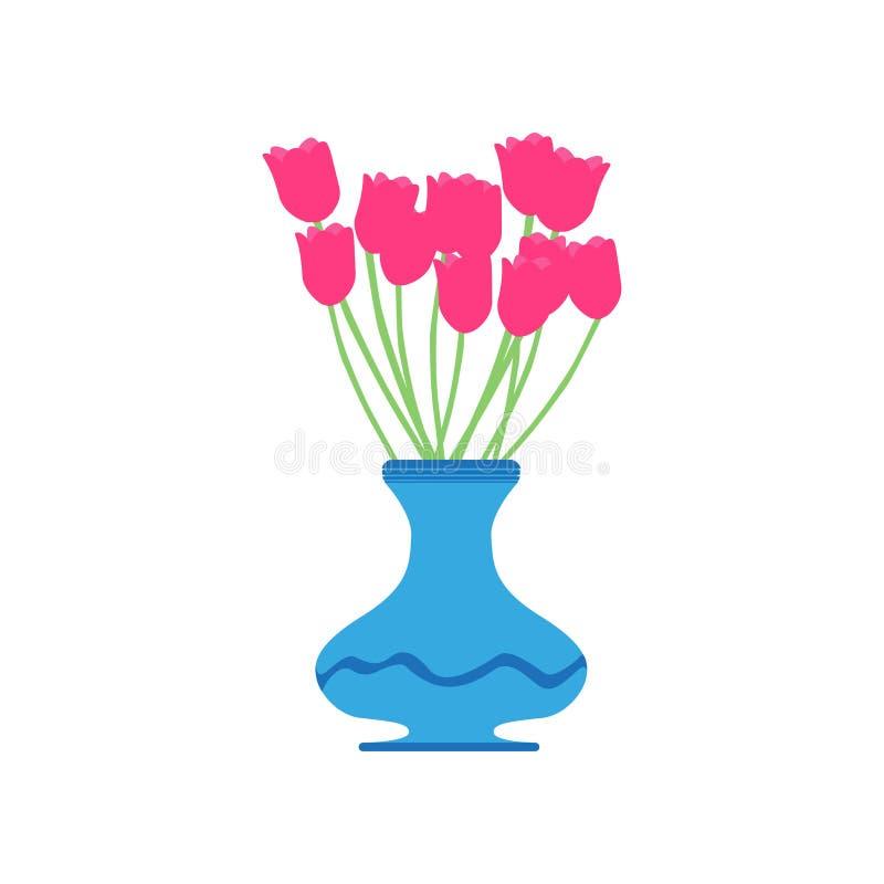 花瓶郁金香传染媒介红色花例证美好的桃红色隔绝了白色开花植物秀丽绿色装饰 向量例证