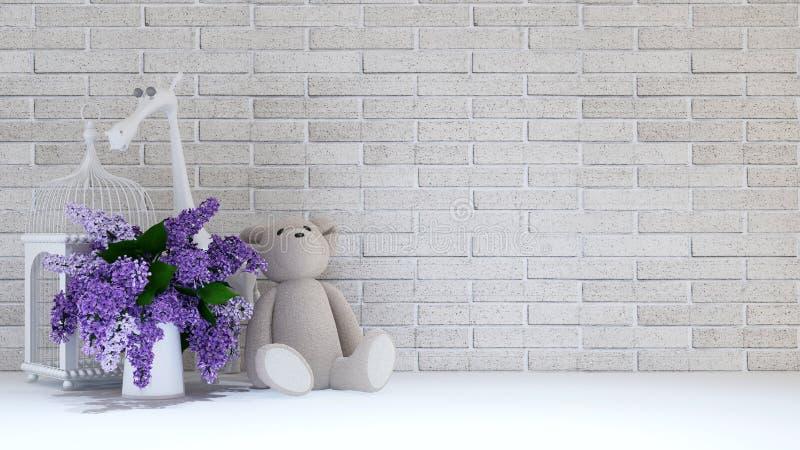 花瓶紫色、鸟笼、玩具熊和长颈鹿孩子的- 3 向量例证