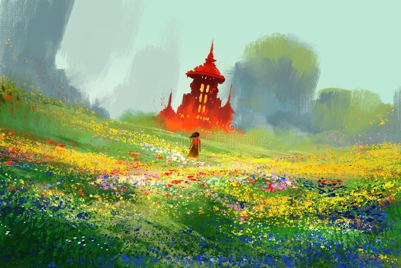 花田的妇女在红色城堡和山旁边 库存例证