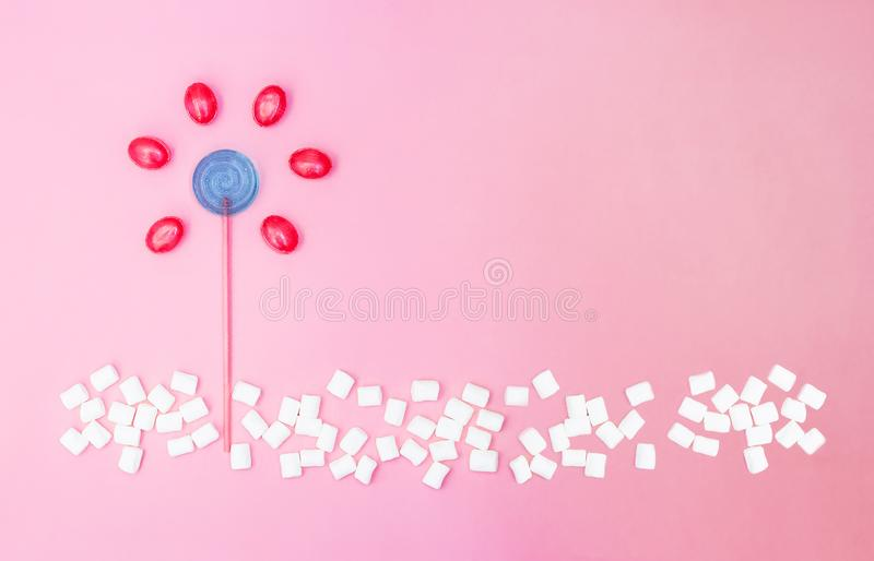 花由棒棒糖和糖果制成在与拷贝空间的桃红色背景 r 免版税图库摄影