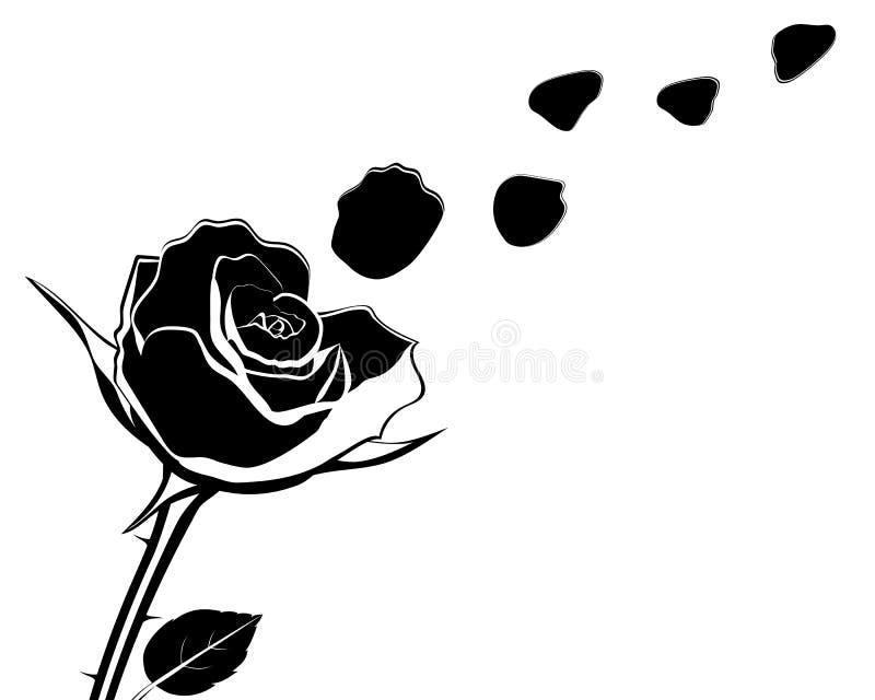 花的剪影与玫瑰花瓣的飞行传染媒介illustr 库存例证