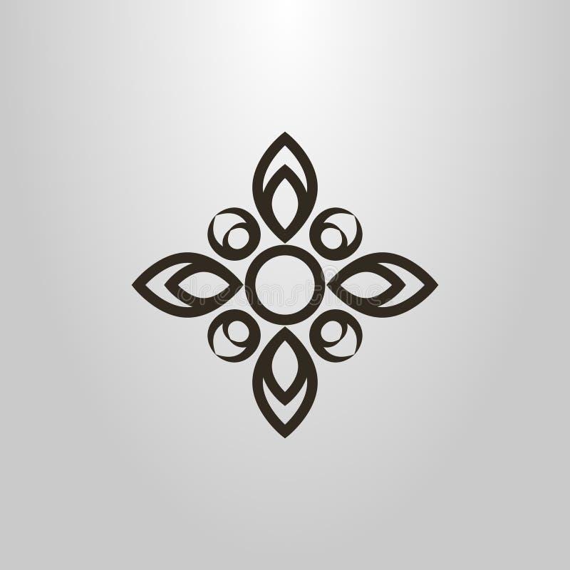 花的抽象符号与四个瓣的以十字架的形式 皇族释放例证