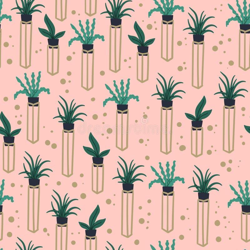 花盆手绘植物的博霍时尚都市丛林无缝图案 Wrapping paper, textile, fabric 库存例证