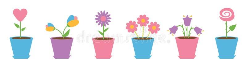 花盆集合线 雏菊春黄菊 郁金香,玫瑰色会开蓝色钟形花的草,心脏,春黄菊花 愉快的情人节卡片 o 库存例证