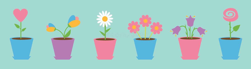 花盆集合线 雏菊春黄菊 郁金香,玫瑰,会开蓝色钟形花的草,心脏,白色春黄菊花 r E 皇族释放例证