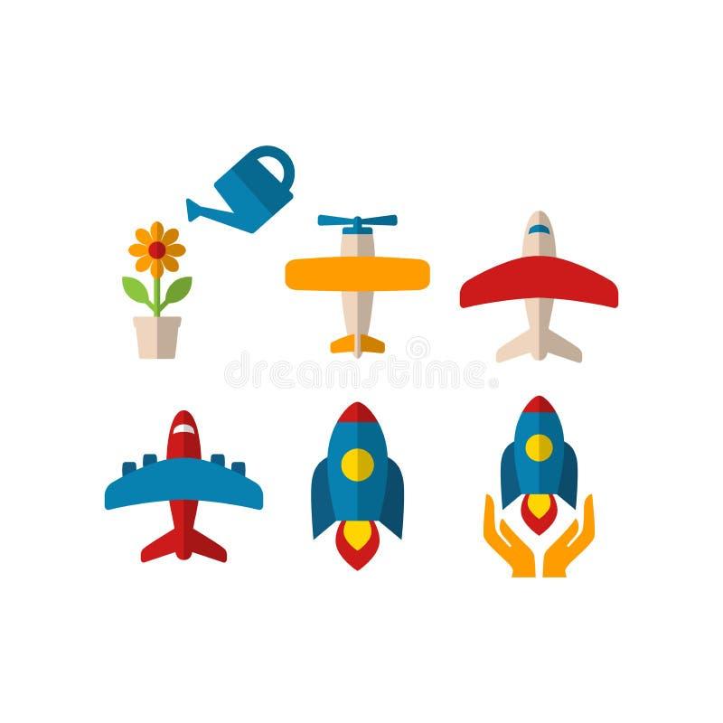 花盆,飞机,航天飞机,火箭用两只手导航五颜六色的动画片象集合 库存例证