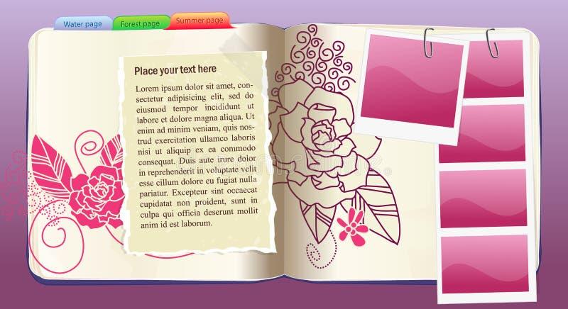 花笔记本模式紫色向量 库存例证