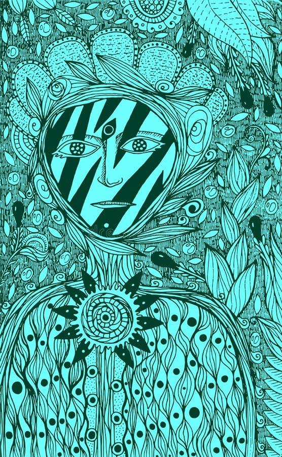 花精神-幻想墨水形象艺术 也corel凹道例证向量 向量例证