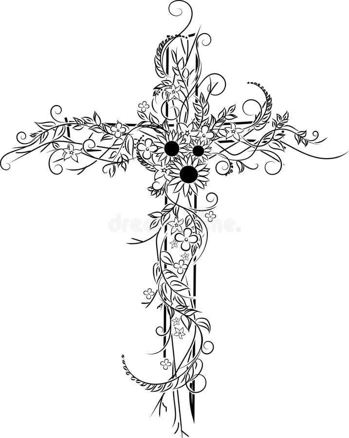 花纹身花刺十字架装饰 免版税图库摄影