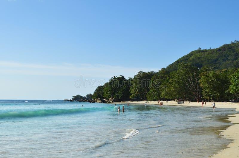 花花公子Vallon海滩,塞舌尔群岛海岛 免版税库存图片