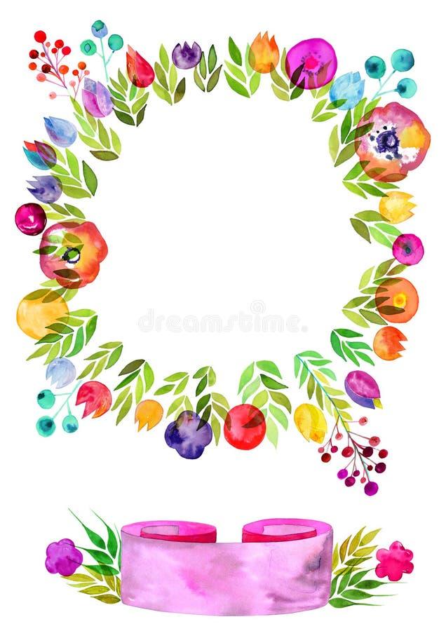 花花圈,装饰水彩开花,与水彩纹理的丝带横幅 向量例证