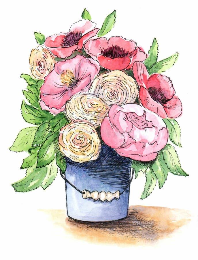 花花束在桶的 向量例证