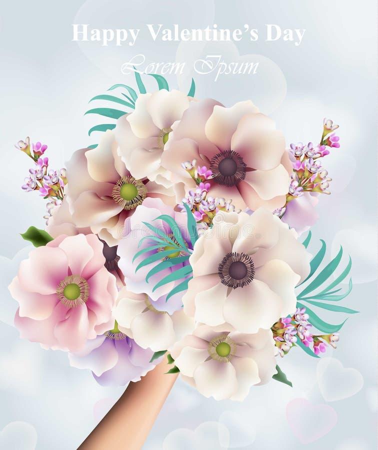 花花束情人节或喜帖 拿着百花香的手 美好的春天开花传染媒介 皇族释放例证