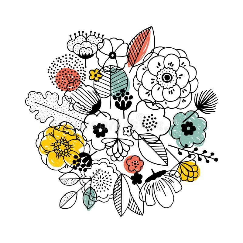 花花束构成 线性图表 Florals背景 斯堪的纳维亚样式 也corel凹道例证向量 向量例证