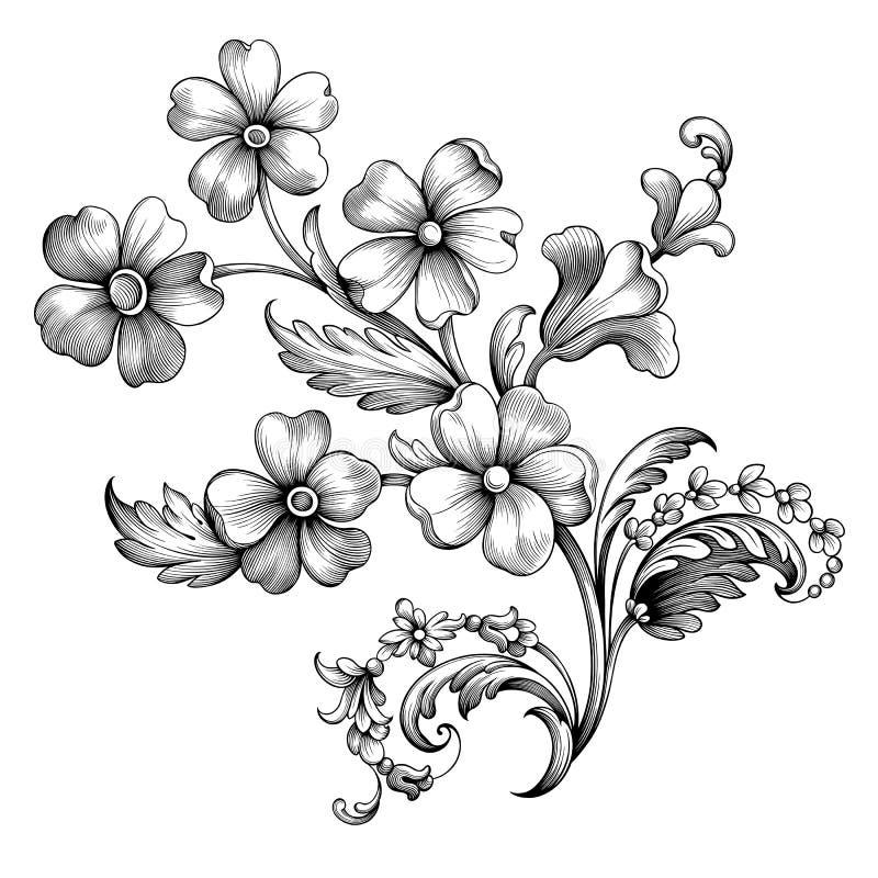花葡萄酒春天花夏天巴洛克式的纸卷维多利亚女王时代的雏菊框架边界花饰刻记了减速火箭的纹身 皇族释放例证