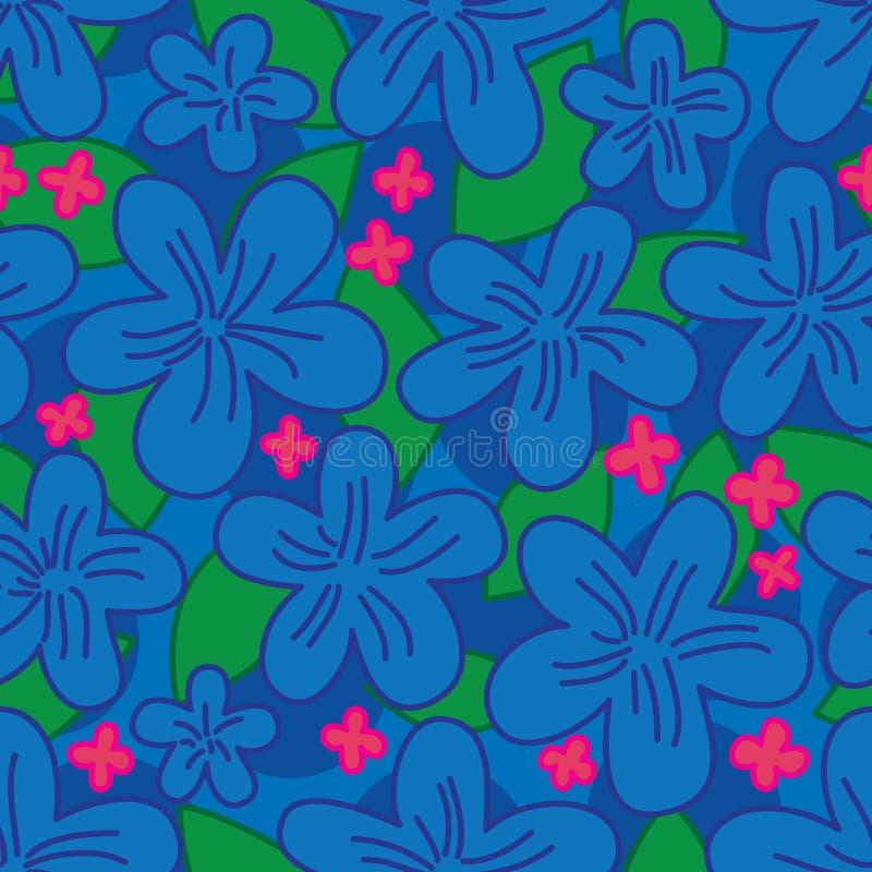 花蜡染布蓝色无缝的样式 皇族释放例证