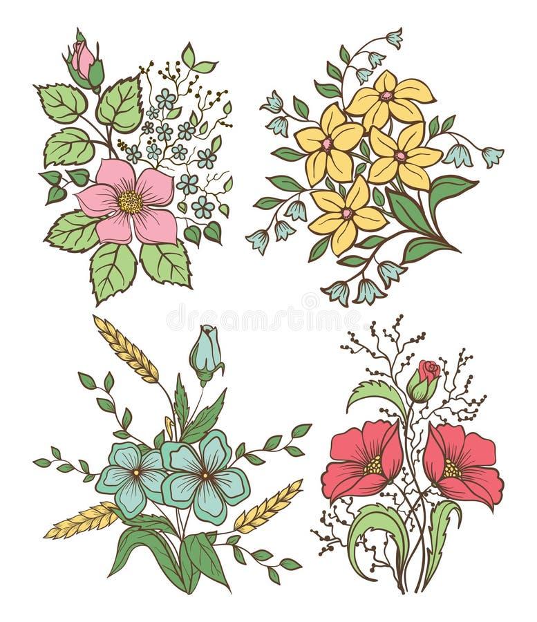 花被设置的向量 与叶子和花,手凹道葡萄酒的五颜六色的花卉收藏 皇族释放例证