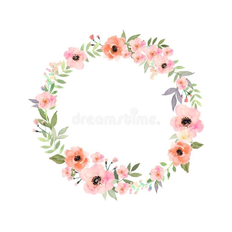 花被设置的向量 与leav的典雅的花卉收藏 免版税库存图片