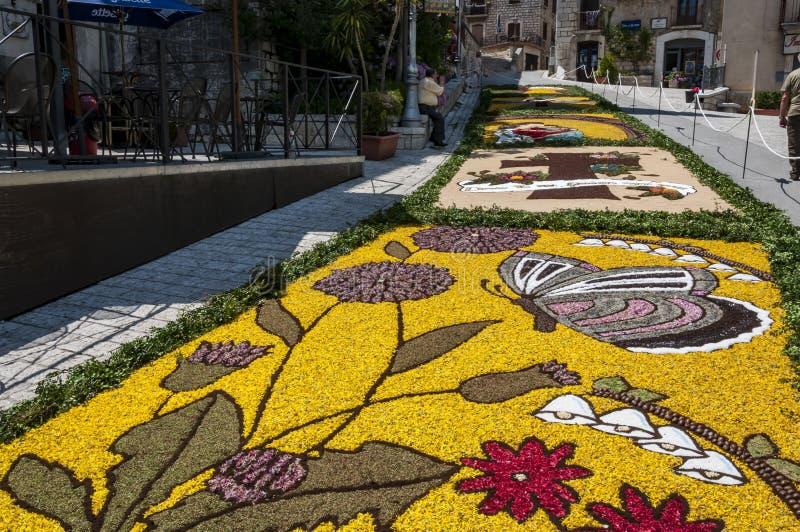 花装饰在库萨诺穆特里,意大利smal村庄  库存照片