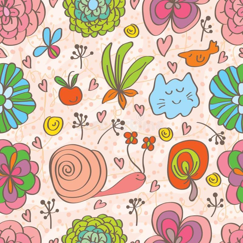 花装饰doddle逗人喜爱的无缝的样式 向量例证
