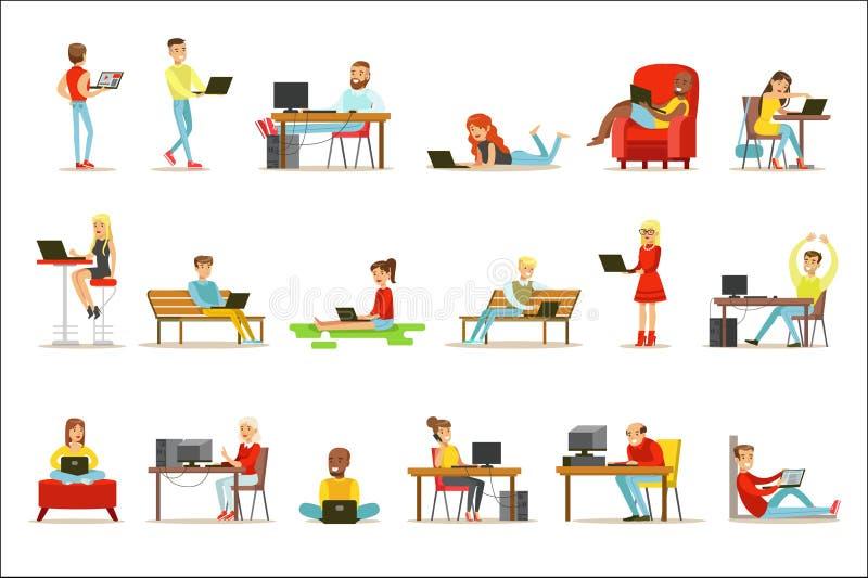 花费他们的时间的愉快的人民使用计算机套与使用现代技术的男人和妇女的传染媒介例证 向量例证