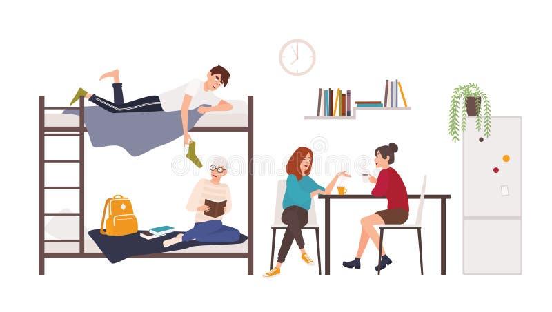 花费时间的男性和女学生在学院宿舍室 年轻喝咖啡的人和妇女,谈话 库存例证