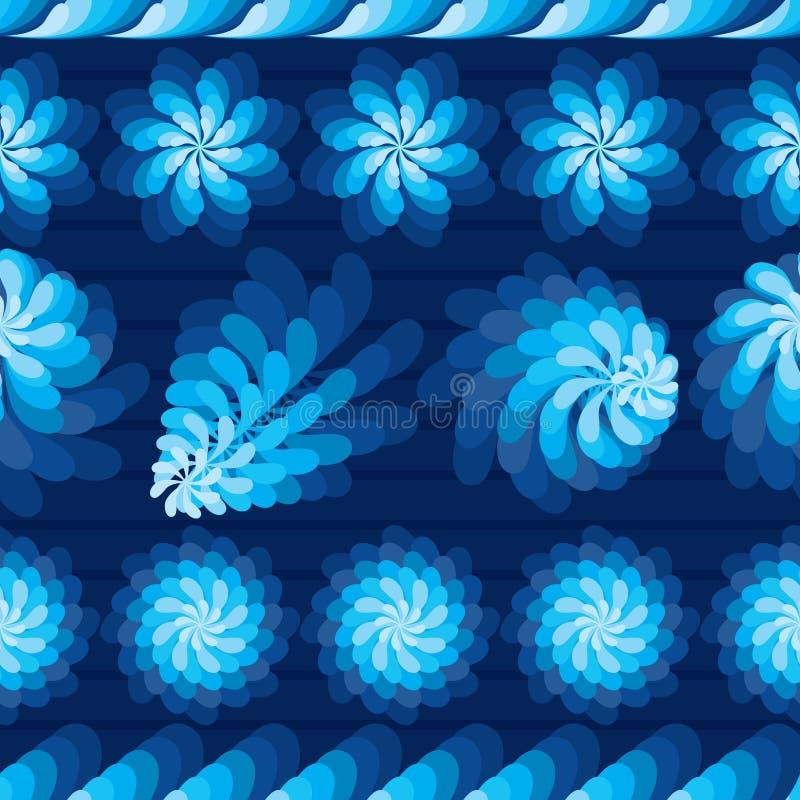 花转动风车蓝色水平的无缝的样式 库存例证