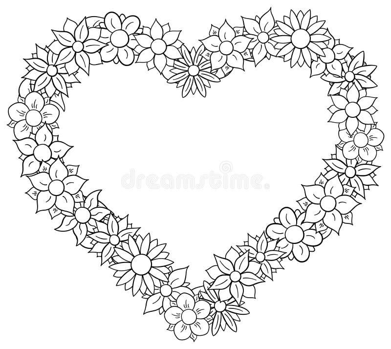 花边界心脏 向量例证