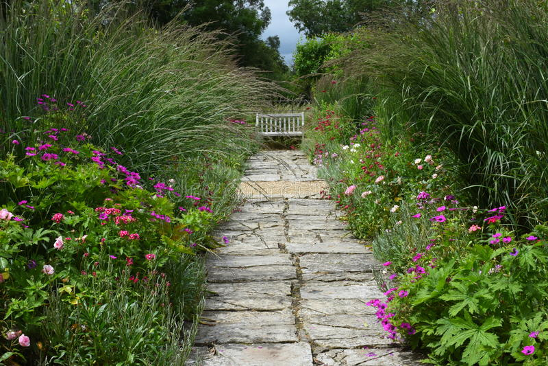 花边界, Tintinhull庭院,萨默塞特,英国,英国 免版税库存图片